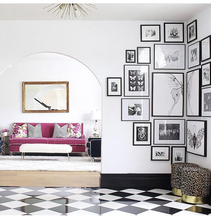 Photo wall ideas for corner black and white design decor trends