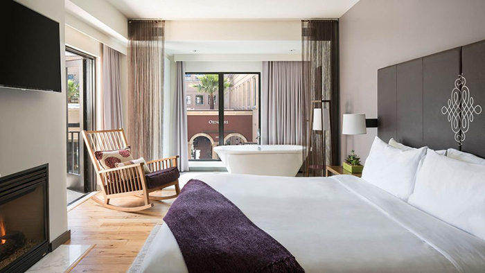Andaz Hyatt Napa hotel room luxury bedroom