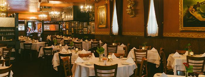 Bamonte's luxury Italian restaurant interior tables white cloth