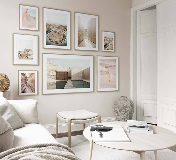 Neutral look elegant stylish photo wall living room cozy home decor trends white and beige interior