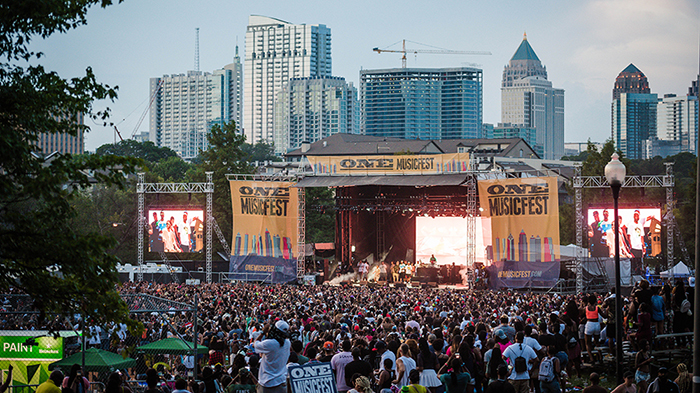 One Music Fest Events in America Outdoor stage skyscrapers crowd outdoor show