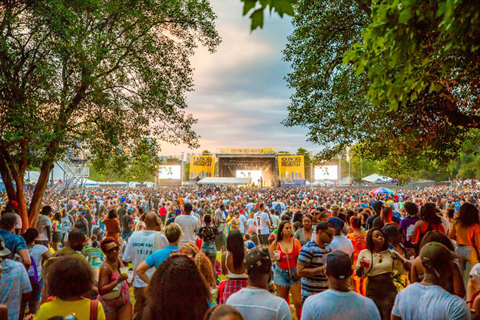 One music festival events in America outdoor stage crowd of people
