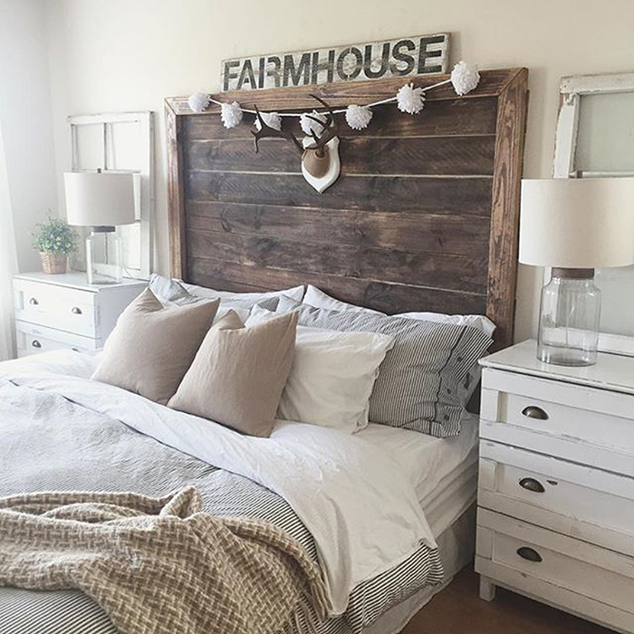 Cool DIY headboard rustic farmhouse style white and beige