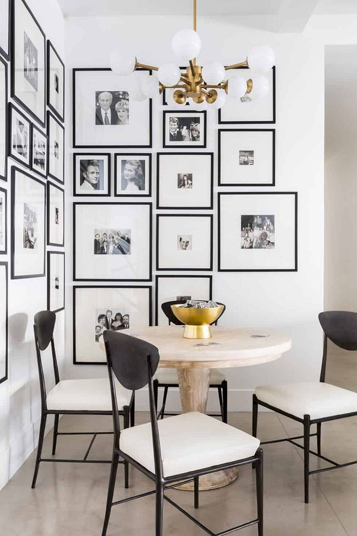 Cool Photo Wall Ideas Corner Gallery Wall Black and white stylish arrangement