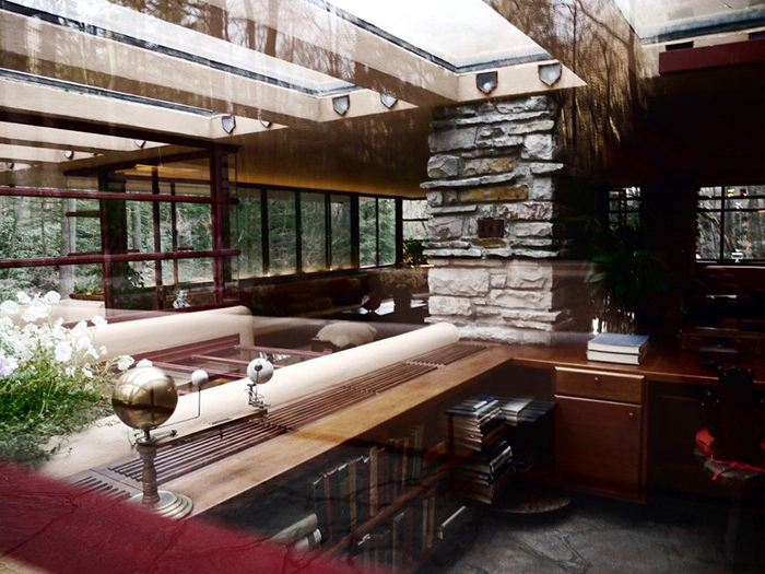 Fallingwater Inside mid century modern architecture interior glass roof