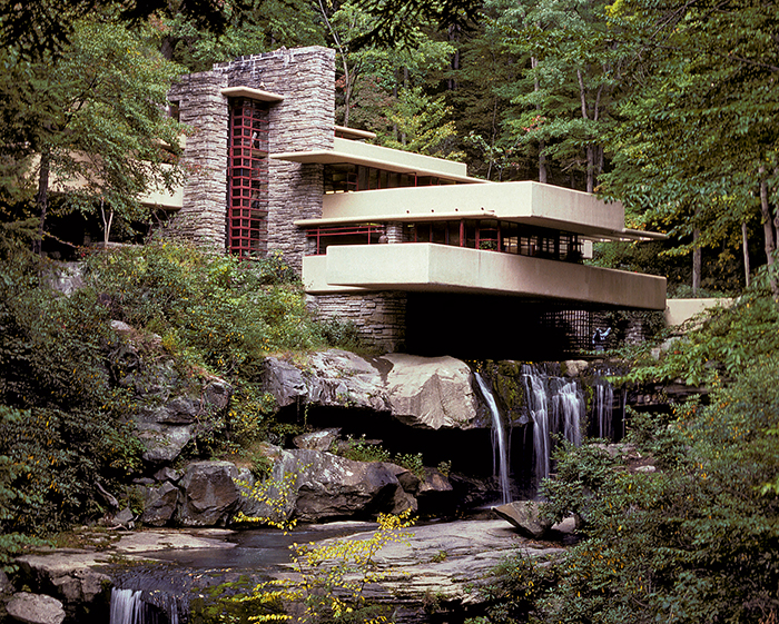 Fallingwater Mid Century Modern Home on a waterfall