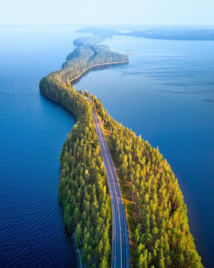 Nature Finland highway islands in the sea