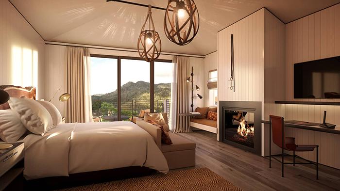 Four Seasons Napa Hotels room interior fireplace luxury room