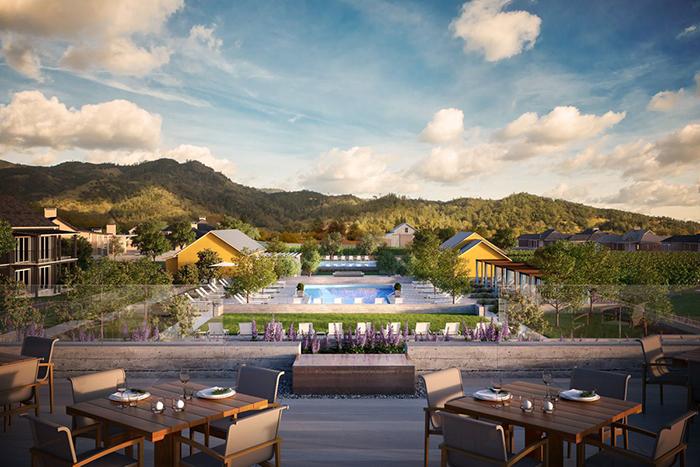 Four Seasons Napa Hotels terrace view outdoor pool hotel garden