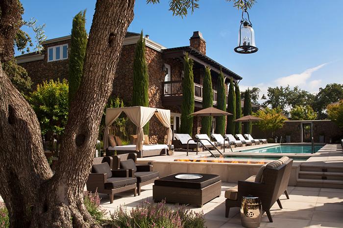 Hotel Yountville luxury Napa hotels outdoor pool garden view