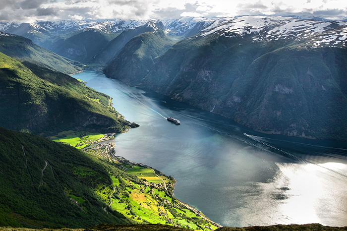 Incredible Norway Fjord Ship Cruise Snowy Mountain Tops