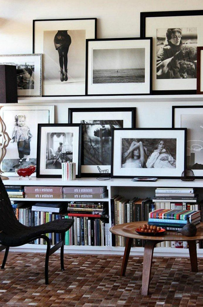 organized chaos photo wall ideas black and white gallery wall living room