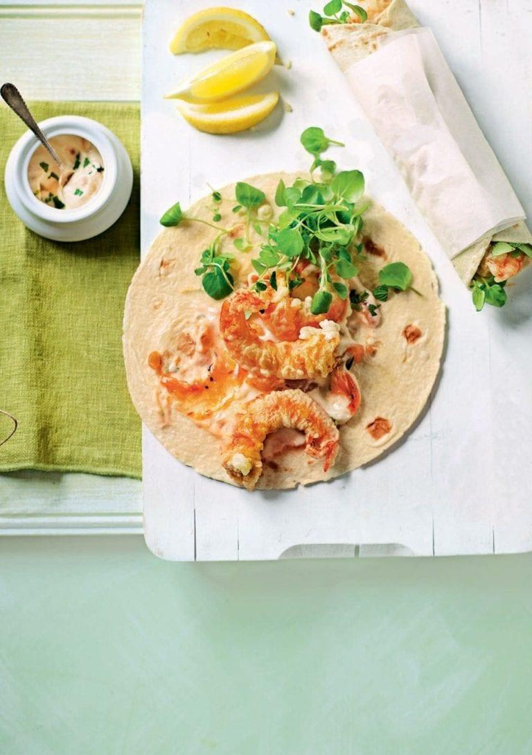 Korean cuisine crunchy tempura with sauce lemon tempura wrap