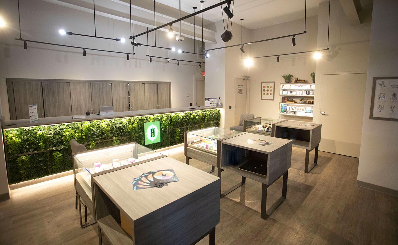 Medical marijuana dispensary with live marijuana behind glass