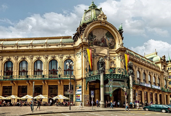 Municipal House Prague square architecture touristic sights
