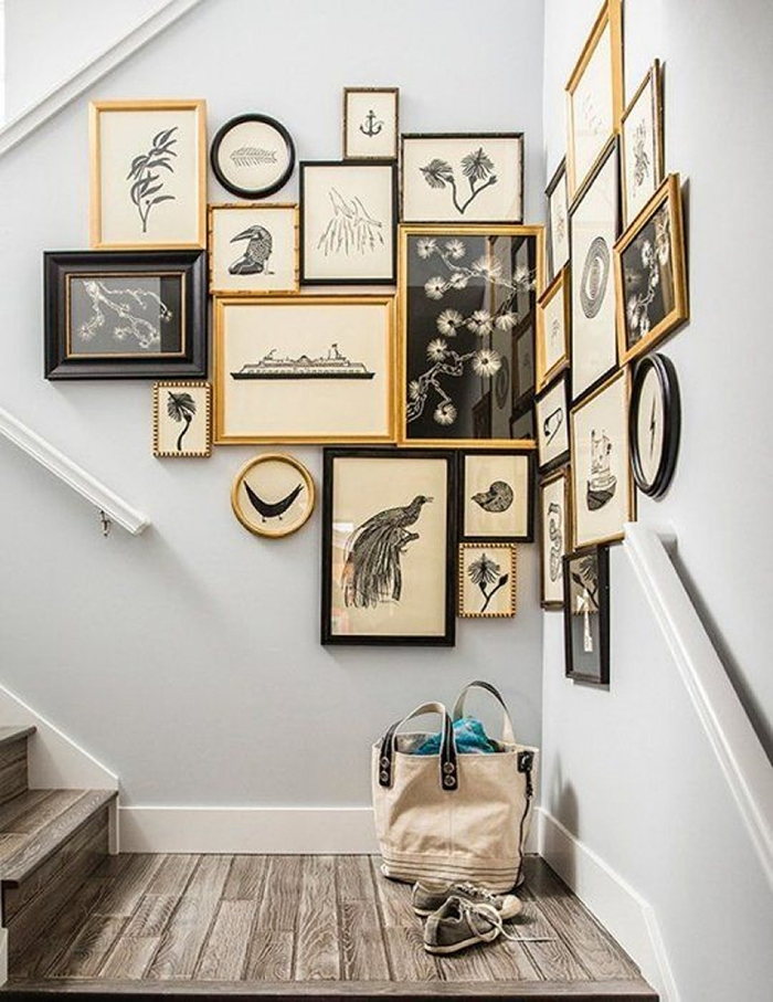 Photo wall ideas for corners black and gold