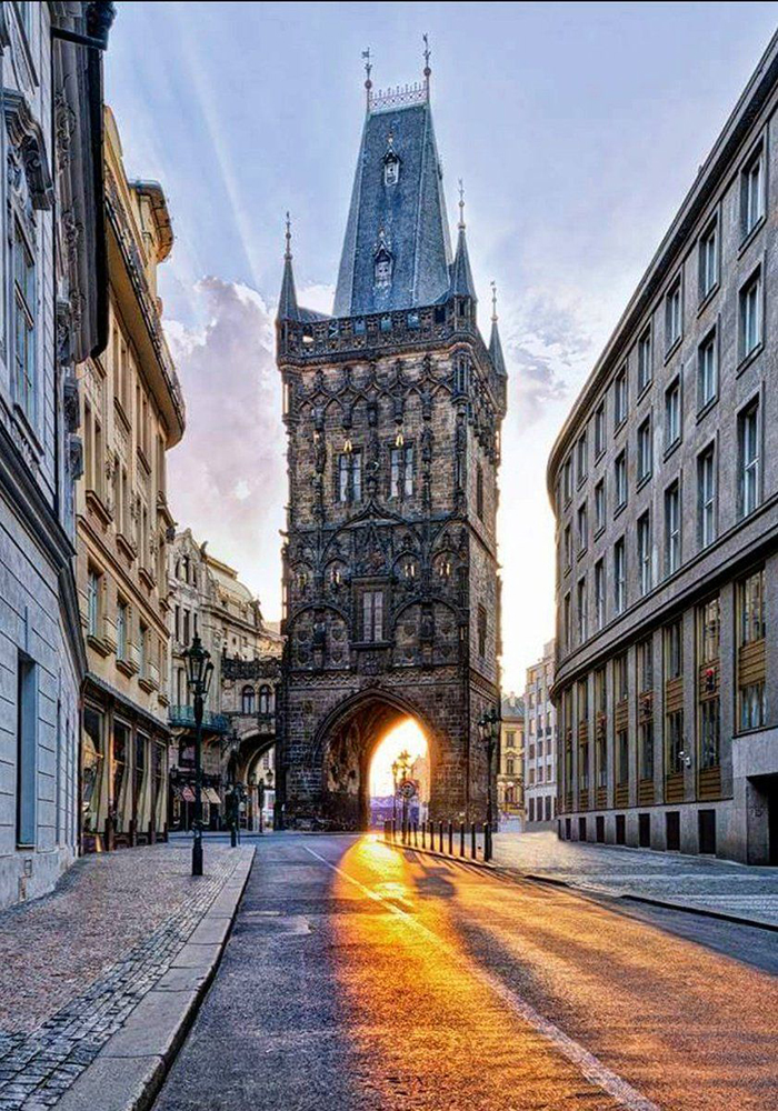 Prague architecture powder tower sunrise czech capital
