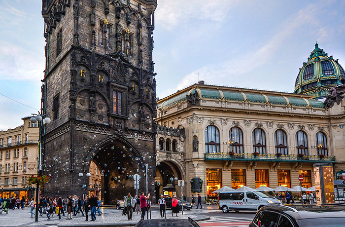 Powder Tower Prague Architecture busy square toursits