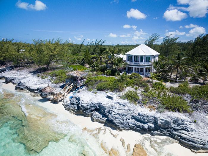 Bahamas island summer villa rocky coast
