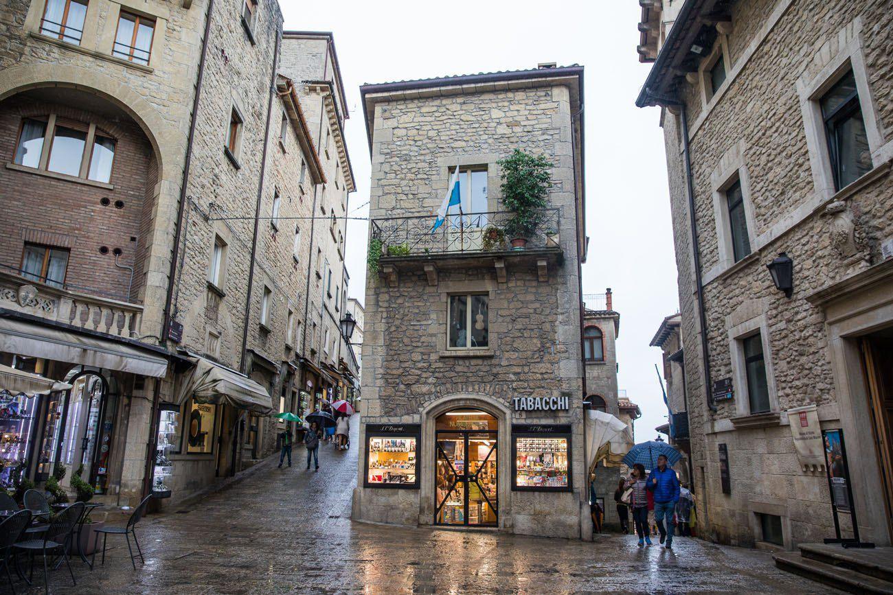 San Marino Streets people walking small shops
