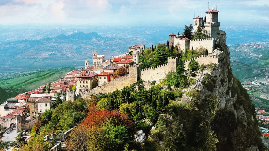 View on San Marino the oldest country in the world hill top fortress