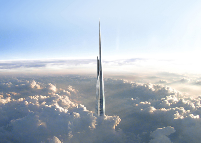 Jeddah Tower sharp in the clouds blue sky