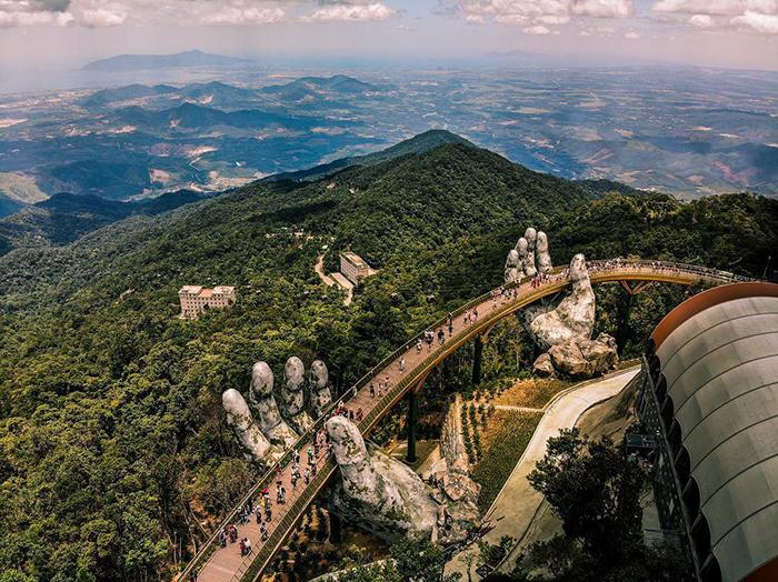 Aerial view Hand Bridge Vietnam tourists landscape green hills
