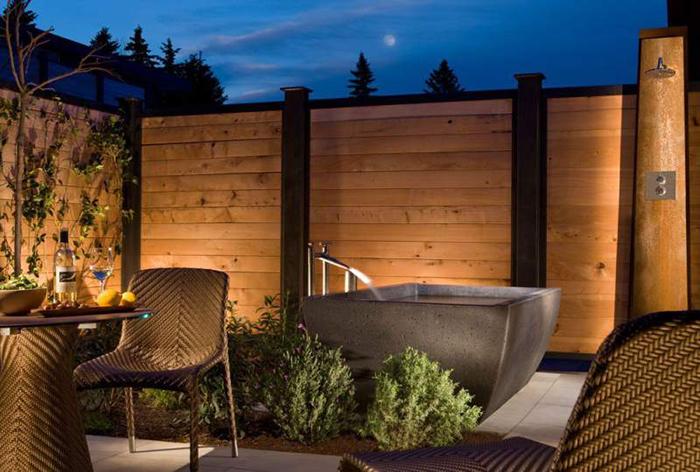 Vacation in Napa Bardessono hotel outdoor areas at night spa