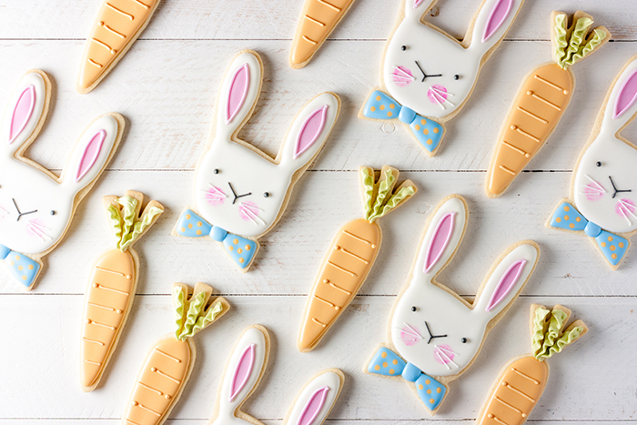 Easter Bunny and carrot cookies glazed holiday biscuits