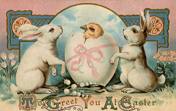 The story of the easter bunny two bunnies with an easter egg holiday postcard