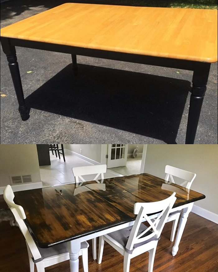 how to refinish a table two tables one outdoors the other indoors wooden table white chairs