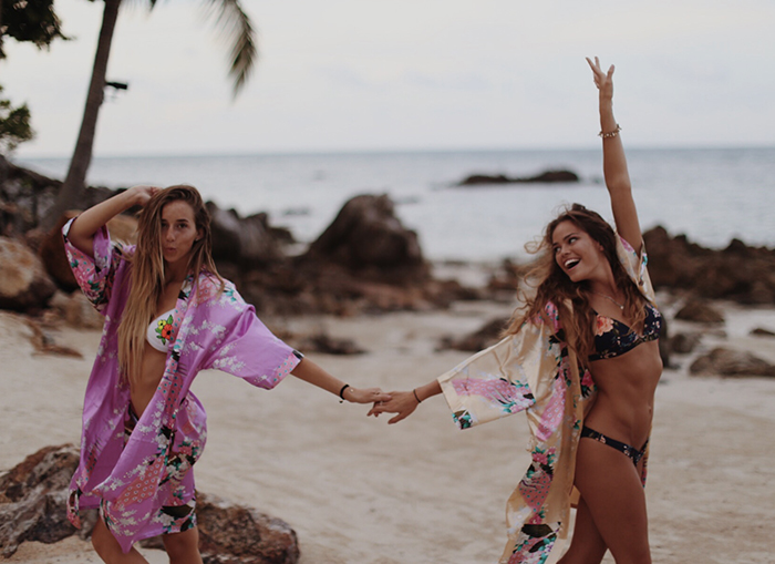 Thailand exotic places two girls dancing on the beach