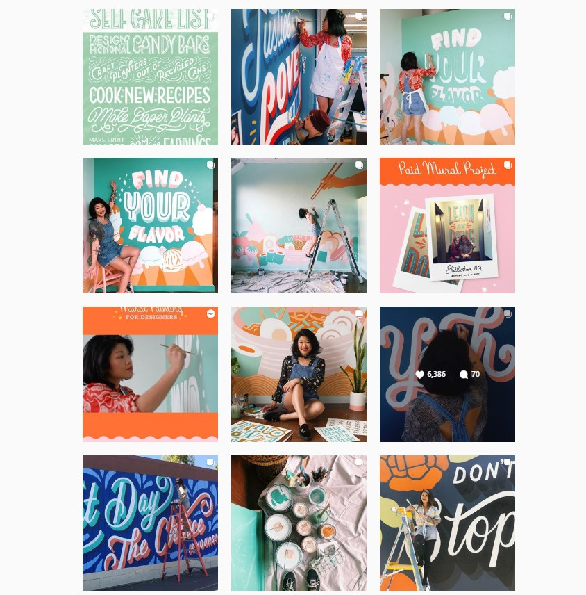 Best Instagram Artists Lauren Hom's Instagram page pictures of her working on her designs
