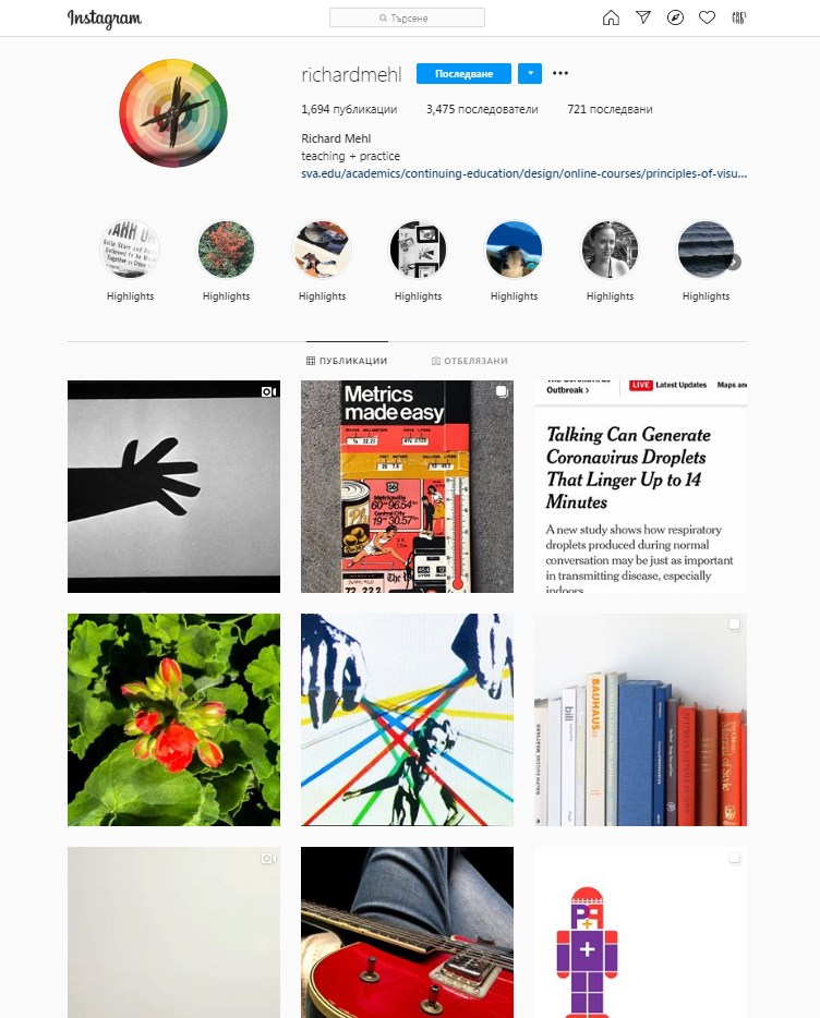 Richard Mehl Instagram art profile with bio and examples