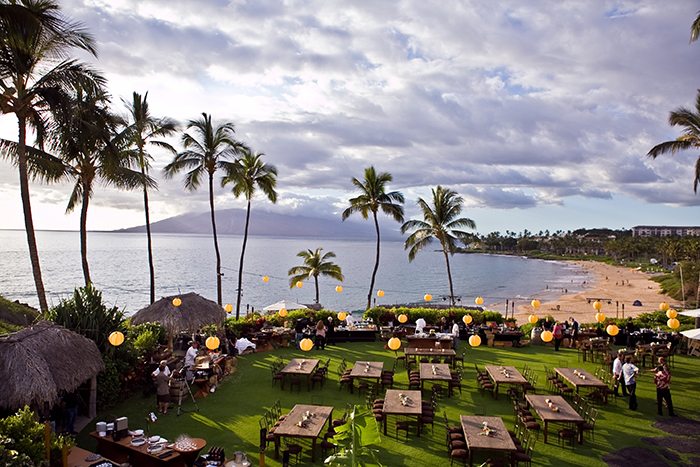 Four Seasons Resort Maui at Wailea outdoor even palm trees beach green lawn tables
