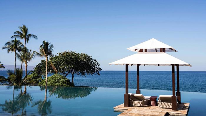 JW Marriott Hawaii Infinity Pool ocean view palm trees white gazebo