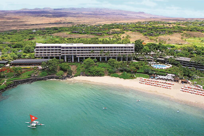 Mauna Kea Beach Hotel top hawaii resorts view from above beach ocean hotel building