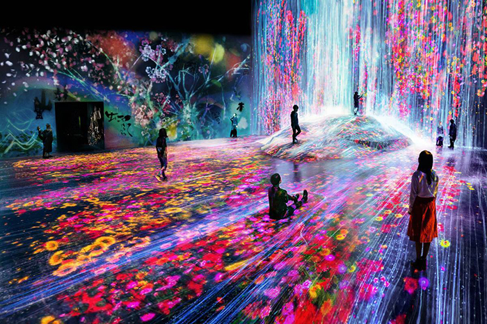 Interactive artwork teamlab exhibition people in a digital art room full of blossoming flowers