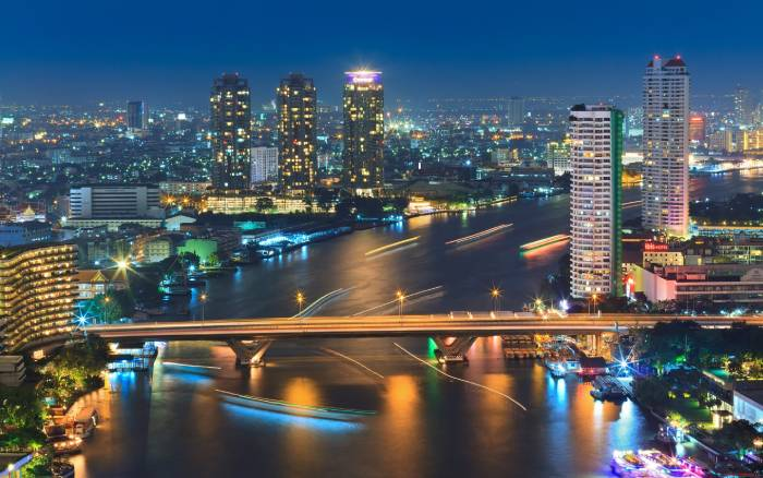 Bangkok Thailand night view river lights tall buildings