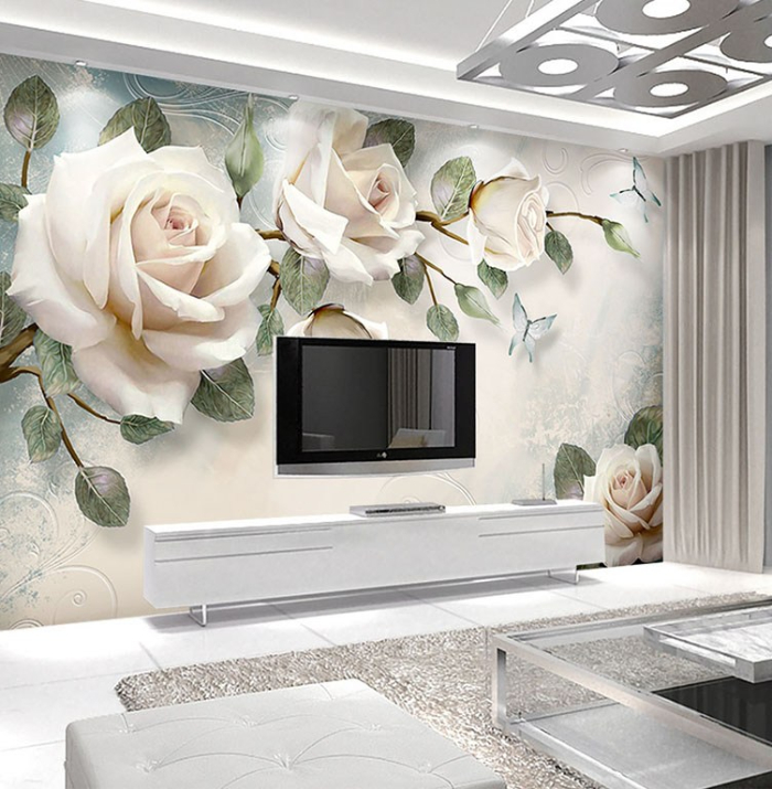 wall art wallpaper with roses in a white room modern interior wall TV white furniture