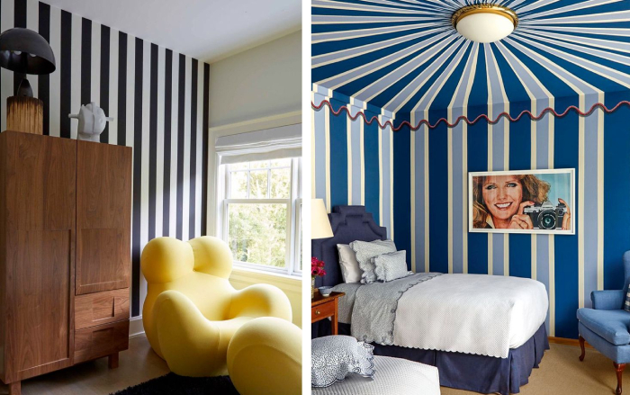 Two rooms with striped walls in black and white and blue and white living room and bedroom
