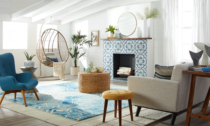 Nautical Theme Summer House design ideas living room with a fireplace in white and blue