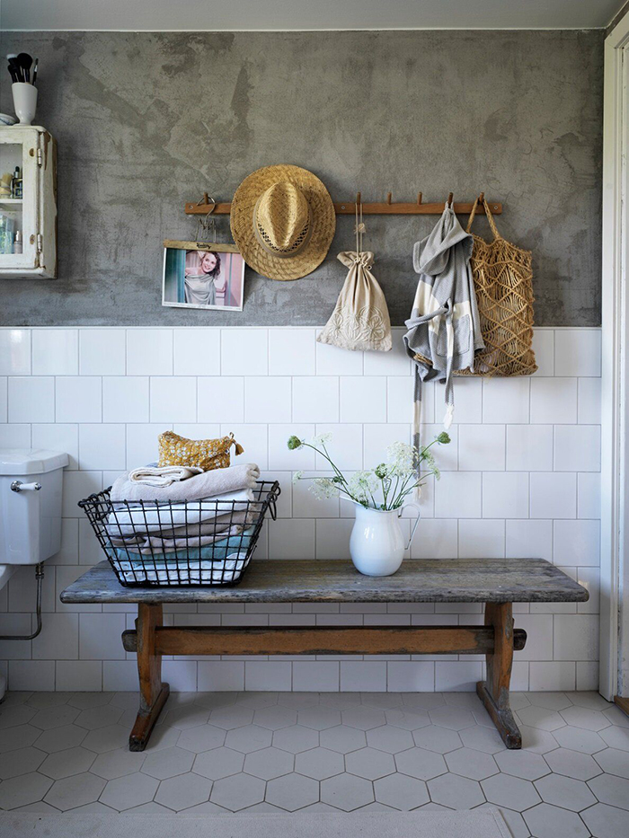 vintage summer house interior ideas bathroom decor with a hanger basket vase and a bench