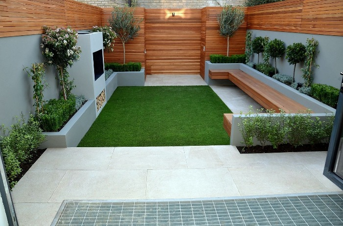 modern small garden wood and white stylish simple design