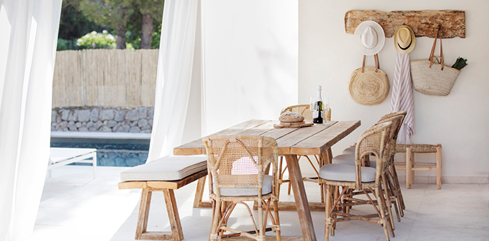 Summer house ideas with recycled furniture wooden table and chairs open terrace wooden hanger
