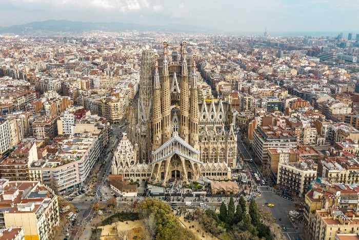 Barcelona view from above sagrada familia daytime picture
