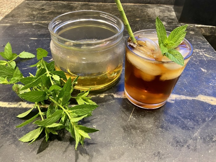 ice mint tea made of fresh mint in a glass with a straw