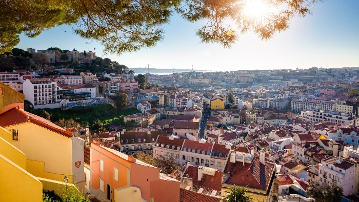 Lisbon Portugal view from above rooftops
