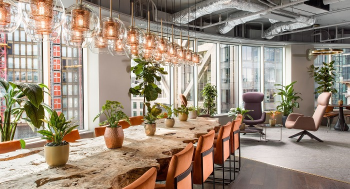 uncommon coworking space with modern eco interior large wooden table with living plants
