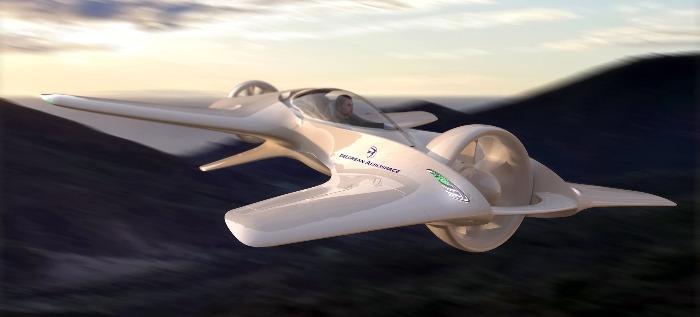 DeLorean-DR7-1 flying car model in flight